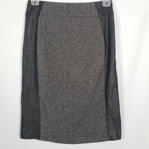 H&M Faux Leather Black Patterned Panel Midi Skirt